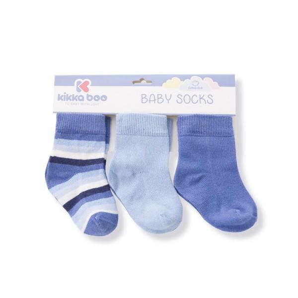 Бебешки памучни чорапи STRIPES LIGHT BLUE 6-12 месеца