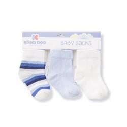 Бебешки памучни чорапи STRIPES WHITE 6-12 месеца