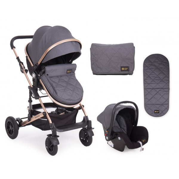 Kikkaboo Комбинирана количка 3 в 1 с трансф.седалка Amaia Black (Dark Grey)