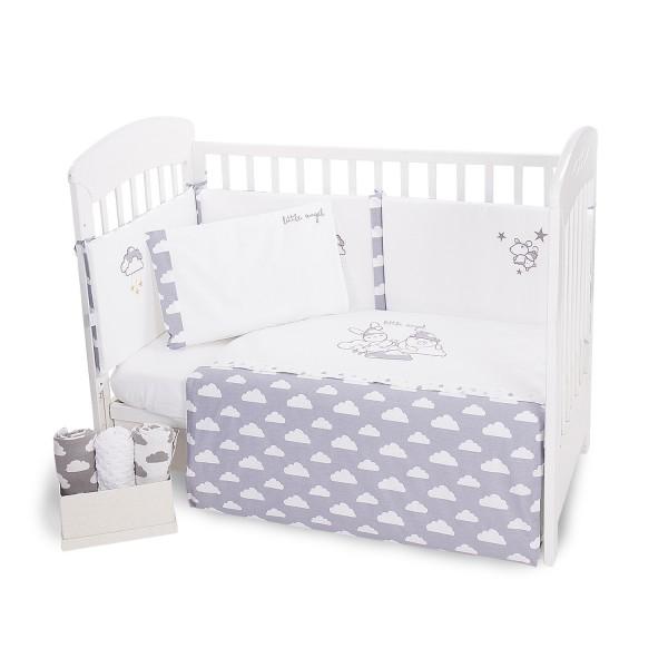 Бебешки спален комплект 6 части 60/120 с бродерия Little Angel Clouds