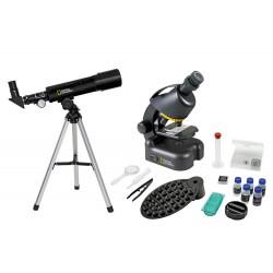 Bresser National Geographic Set: 50/360 AZ Telescope and 40x–640x Microscope