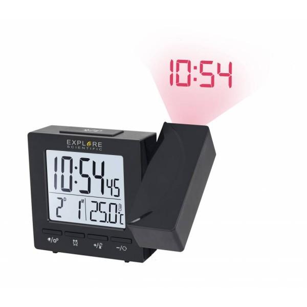 Цифров прожекционен часовник RC Explore Scientific с показател на температурата на закрито, черен