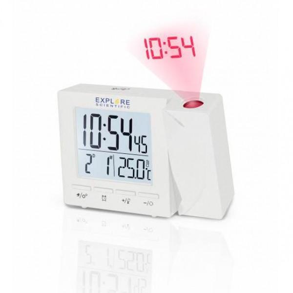 Цифров прожекционен часовник RC Explore Scientific с показател на температурата на закрито, бял