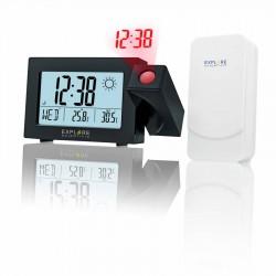 Прожекционен часовник RC Explore Scientific с аларма и прогноза за времето, черен
