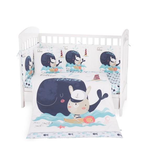 Бебешки спален комплект 6 части 70/140 Happy Sailor