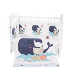 Kikkaboo Бебешки спален комплект 2 части EU style 60/120 Happy Sailor