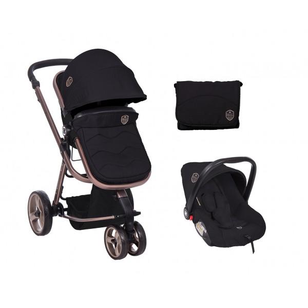 Kikkaboo Комбинирана количка 3 в 1 Amica Black