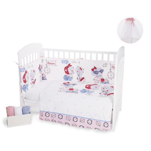Бебешки спален комплект 3 части Pink Station с комарник 200/540