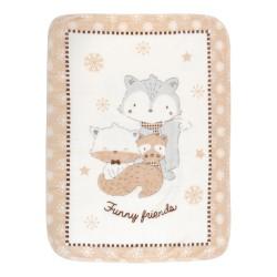 Супер меко бебешко одеяло Funny Friends 110/140 см бежаво
