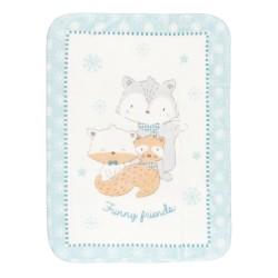 Супер меко бебешко одеяло Funny Friends 110/140 см синьо