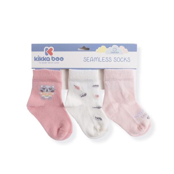 Бебешки памучни чорапи CAT LOVELY DAY PINK 0-6 месеца