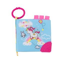 Образователна текстилна книжка с чесалка Happy Unicorn