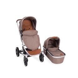 Комбинирана количка 2 в 1 Divaina Dark Beige Melange с кош за новородено