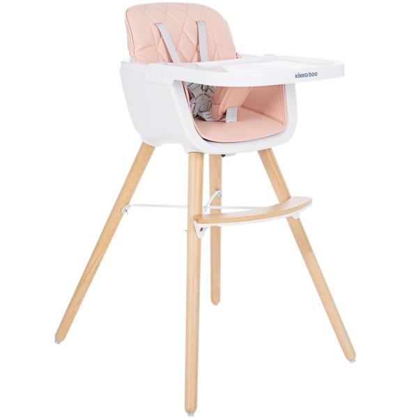 Kikkaboo Дървен стол за хранене Woody Pink