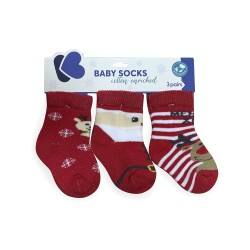 Бебешки памучни термо чорапи MERRY XMAS 1-2 години