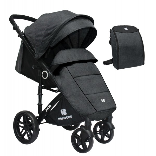 Kikkaboo Бебешка лятна количка Juno Dark Grey 2020