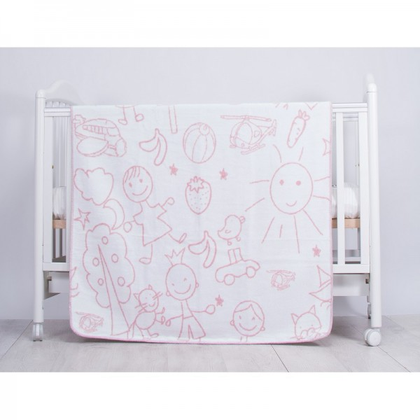 Kikkaboo Бебешко одеяло Drawings Pink