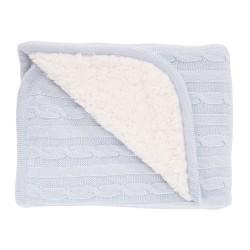 Плетено памучно одеяло с шерпа Light Blue
