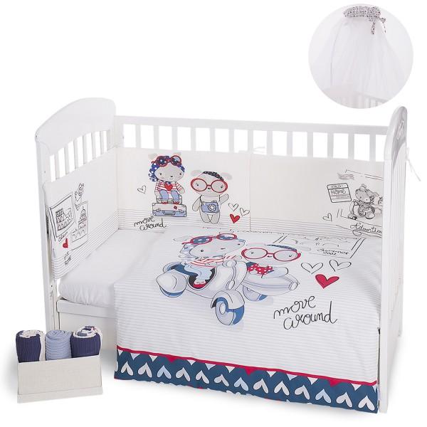Бебешки спален комплект 3 части с комарник (6м) Love Rome 70/140