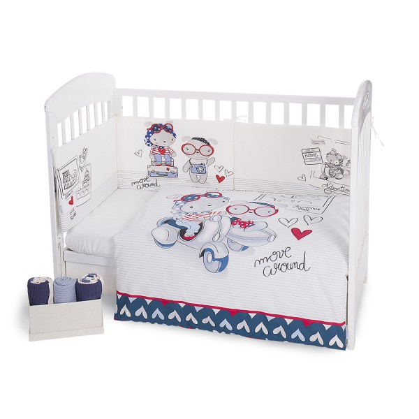 Kikkaboo Бебешки спален комплект 2 части EU style 70/140 Love Rome Blue
