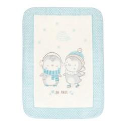 Супер меко бебешко одеяло Love Pingus 110/140 см синьо
