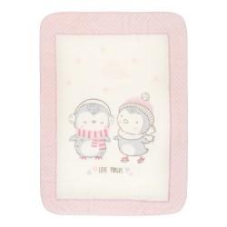 Супер меко бебешко одеяло Love Pingus 80/110 см розово
