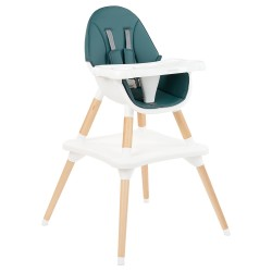 Kikkaboo Дървен стол за хранене Multi 3in1 Petrol Green