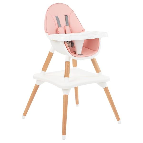 Kikkaboo Дървен стол за хранене Multi 3in1 Pink