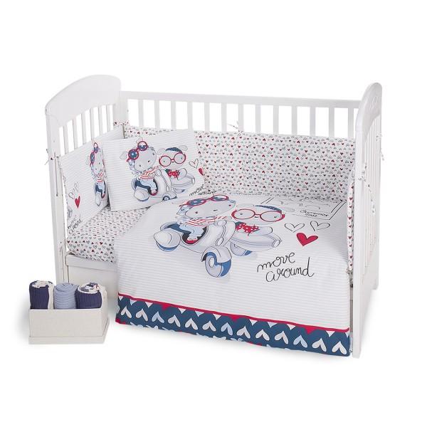 Kikkaboo Бебешки спален комплект 6 части 60/120 Love Rome Blue