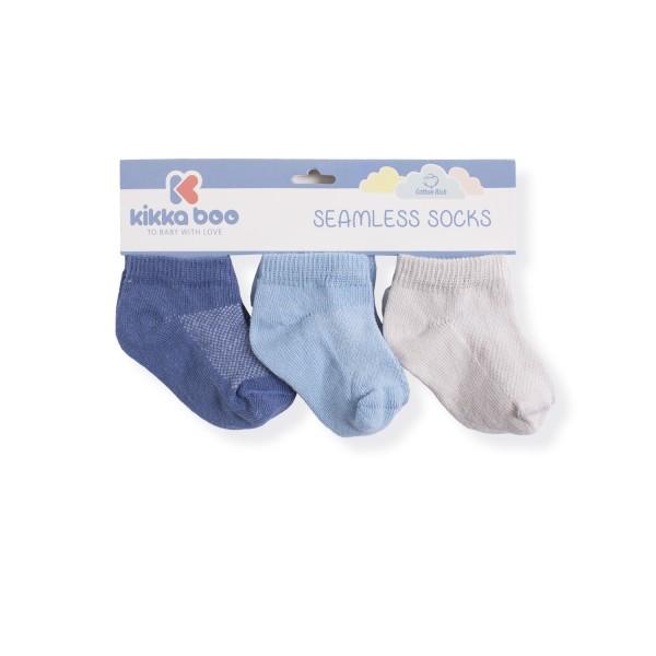 Бебешки памучни чорапи терлички SOLID NAVY 1-2 години