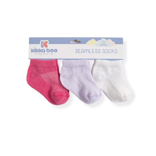 Бебешки памучни чорапи терлички SOLID PURPLE 1-2 години