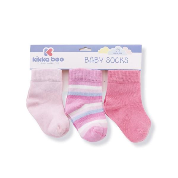 Бебешки памучни чорапи STRIPES PINK 1-2 години