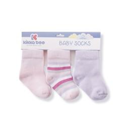 Бебешки памучни чорапи STRIPES PURPLE 6-12 месеца