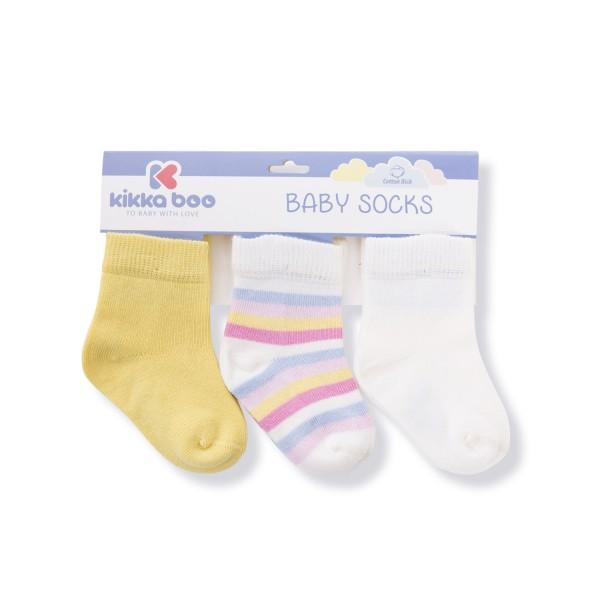 Бебешки памучни чорапи STRIPES YELLOW 6-12 месеца
