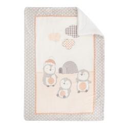 Супер меко бебешко одеяло с шерпа Pingui Family 110/140 см бежаво