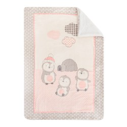 Супер меко бебешко одеяло с шерпа Pingui Family 110/140 см розово