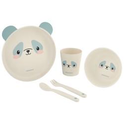 Сет за хранене бамбук Panda Blue