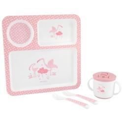 Сет за хранене 4 части Flamingo Pink