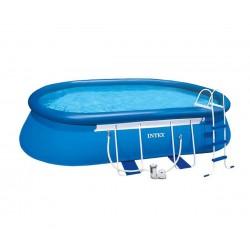 Овален надуваем басейн с филтърна помпа 610 х 366 х 122 см