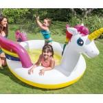 Intex Детски надуваем басейн с пръскалка Еднорог