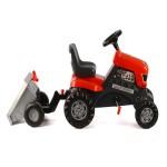 Трактор с педали и ремарке червен