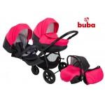 Бебешка количка Buba City 3в1 черно/цикламено