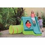 Keter Funtivity Playhouse пластмасова къща за игра с пързалка зелено/тюркоаз