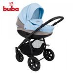 Бебешка количка Buba City 3в1 сиво/светло синьо