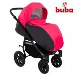 Бебешка количка 3в1 Buba City Черна/Розова