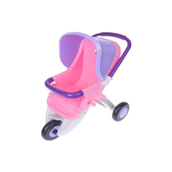 Количка за кукли с три колела в розово и лилаво