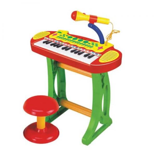 Baoli Пиано със стол и микрофон 2в1 Melody червен