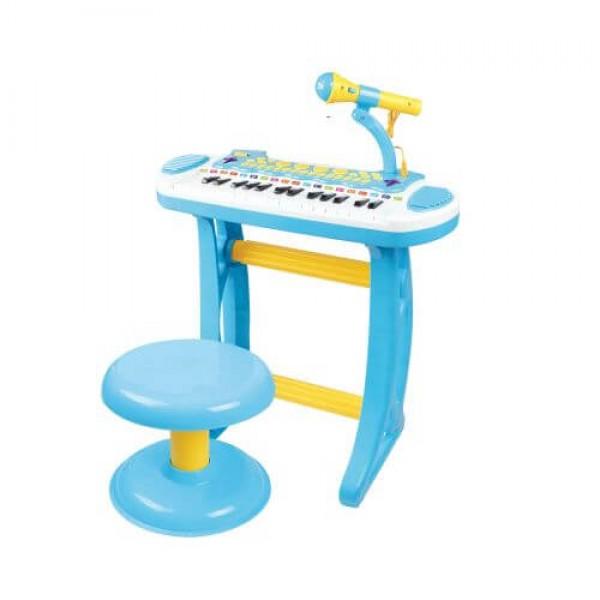 Baoli Пиано със стол и микрофон 2в1 Melody розово/синьо