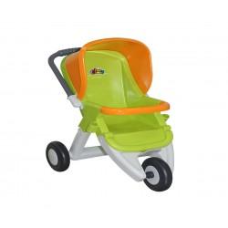 Количка за кукли с три колела в зелено и оранжево