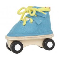 Дървена обувка на колела синя